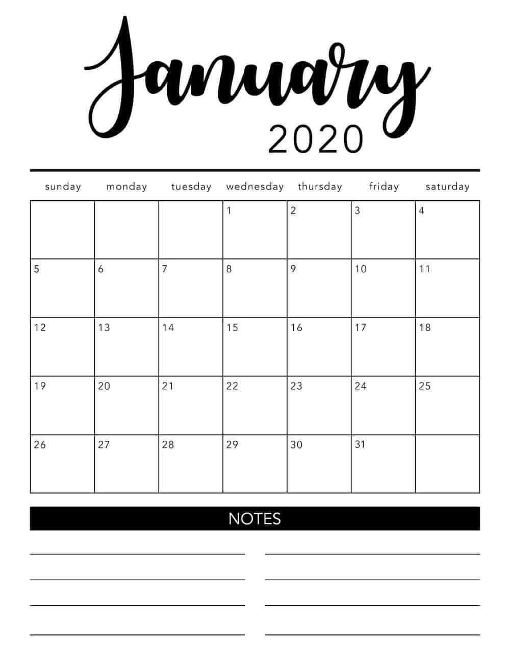Printable Calendar Monthly 2020 In 2020 | Monthly Calendar