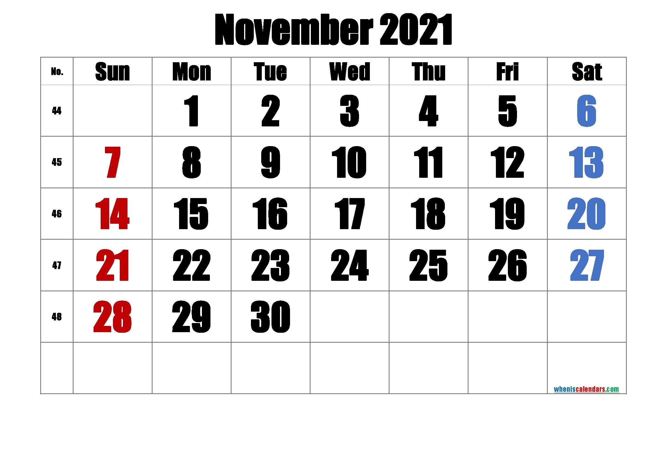 Printable Calendar November 2021 [Free Premium] | Free