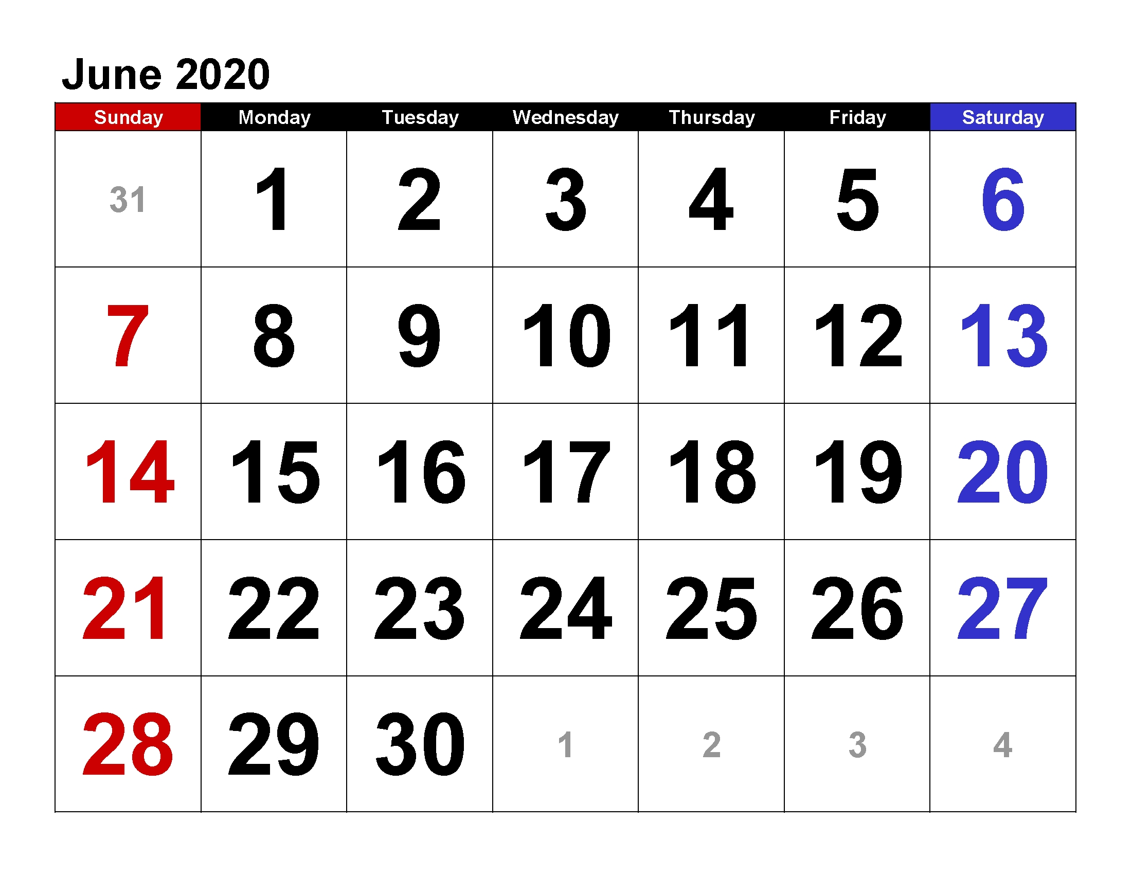 Printable Calendar Template June 2020 Calendar Large