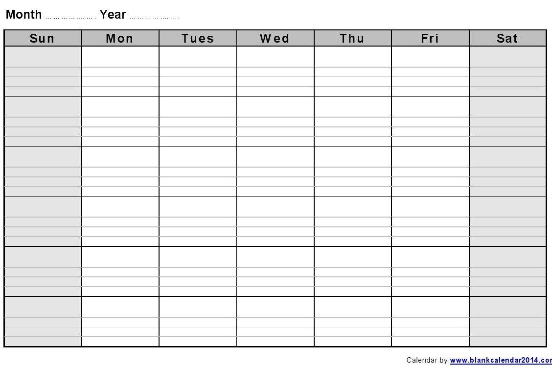 Printable Calendar With Lines | Calendar Printables Free