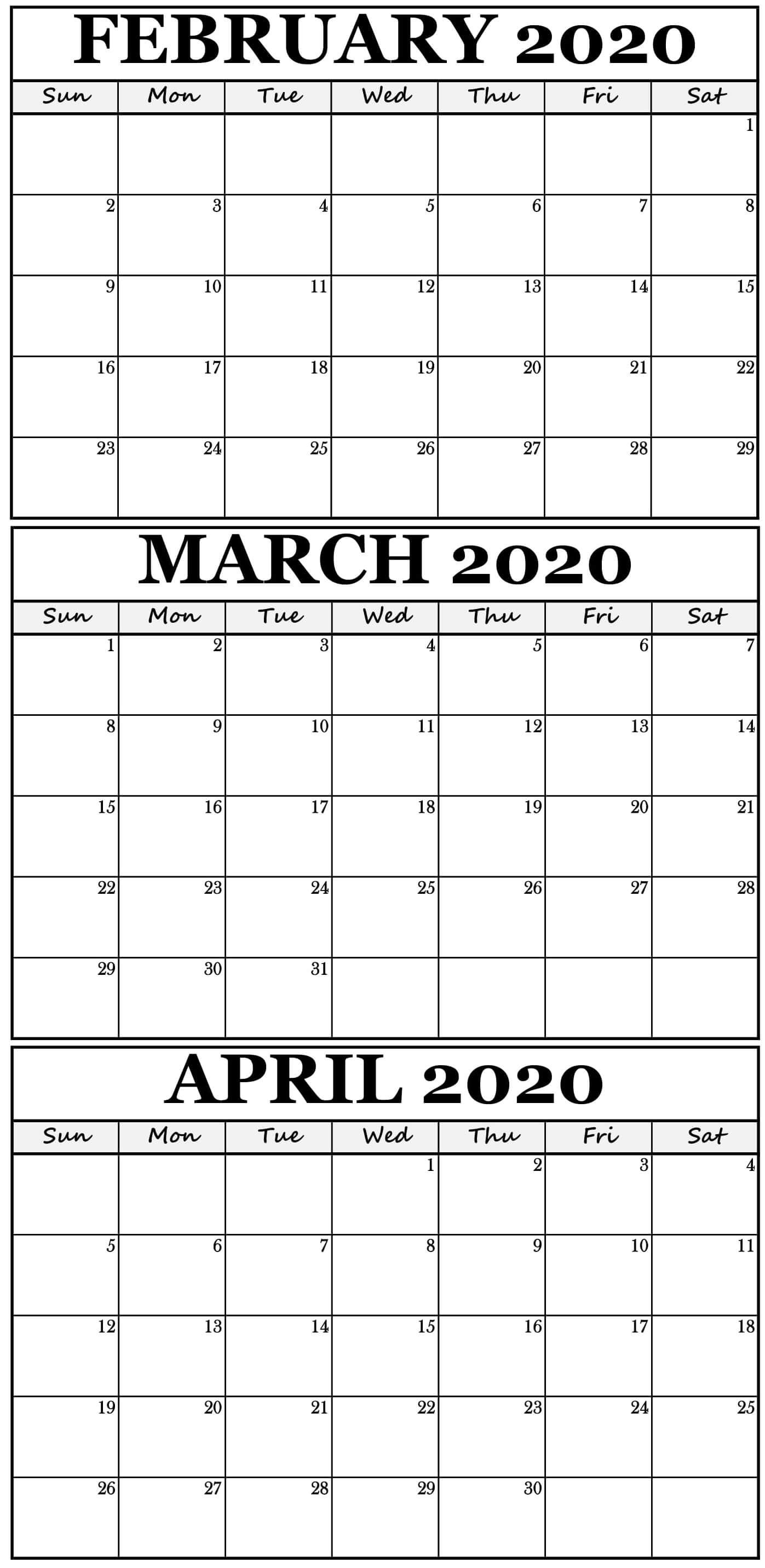 Printable February To April 2020 Calendar With Holidays