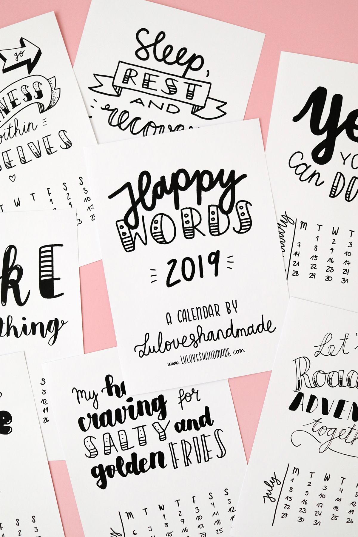 Printable Handlettering Calendar 2019 On Etsy