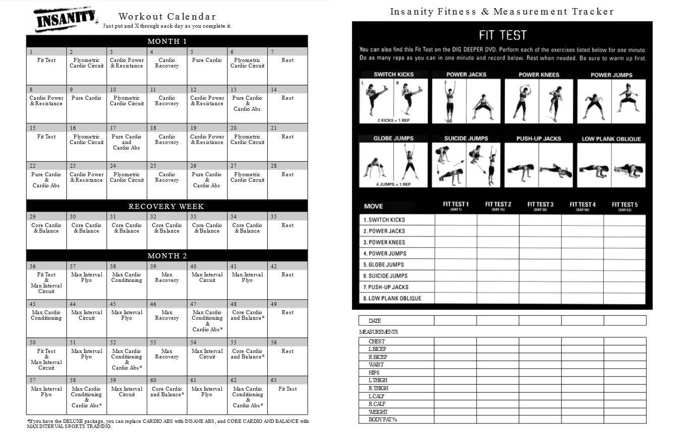 Printable Insanity Workout Calendar Pdf Free (With Images