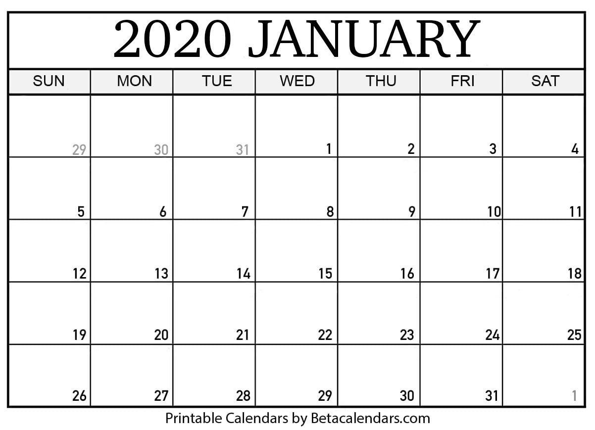 Printable January 2020 Calendar | Calendar Printables, Blank