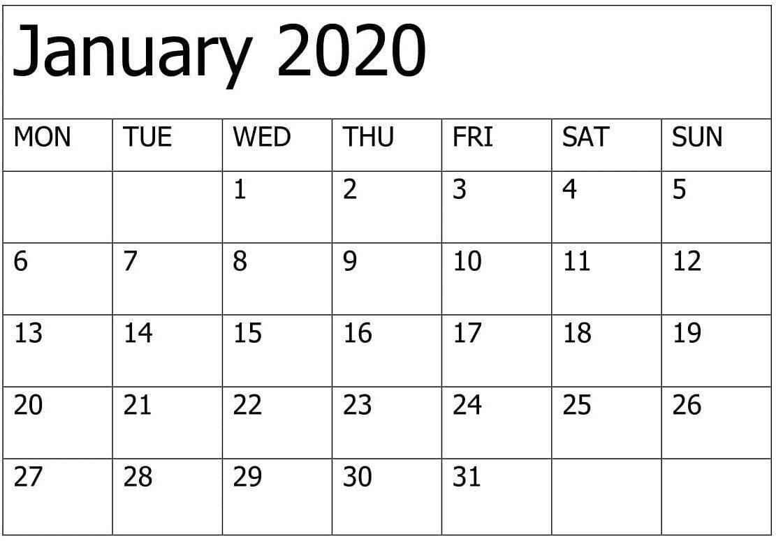 Printable January 2020 Calendar Editable Pages - Free Latest
