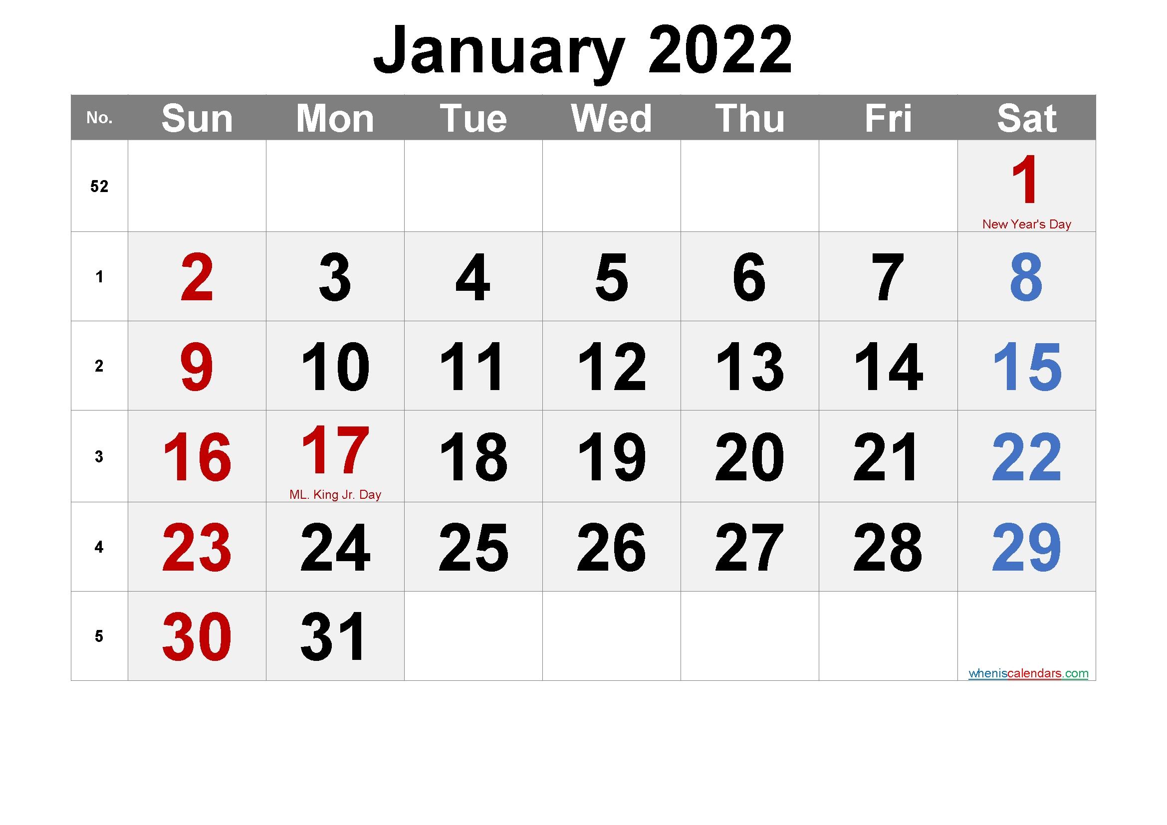 Printable January 2022 Calendar Pdf-Template No.ar22M61