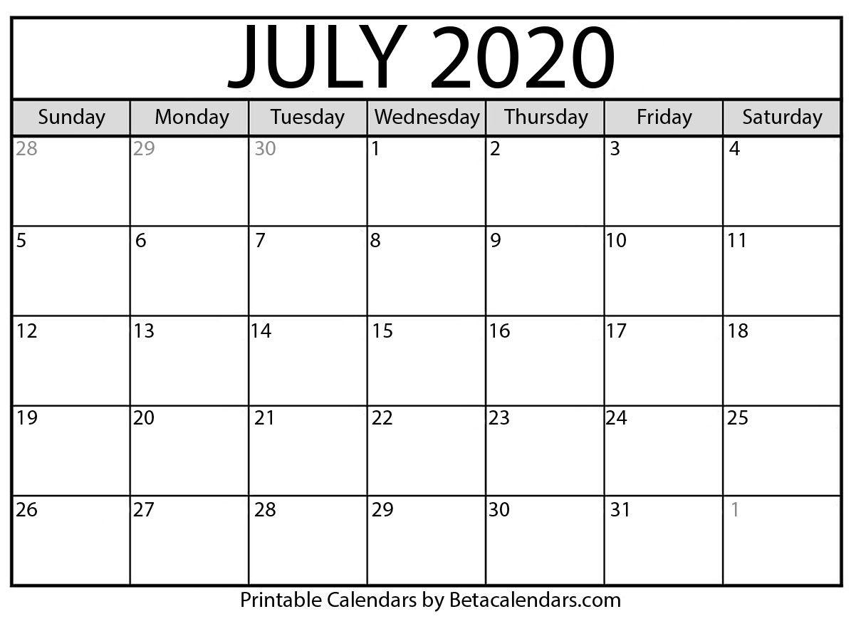 Printable July 2020 Calendar - Beta Calendars