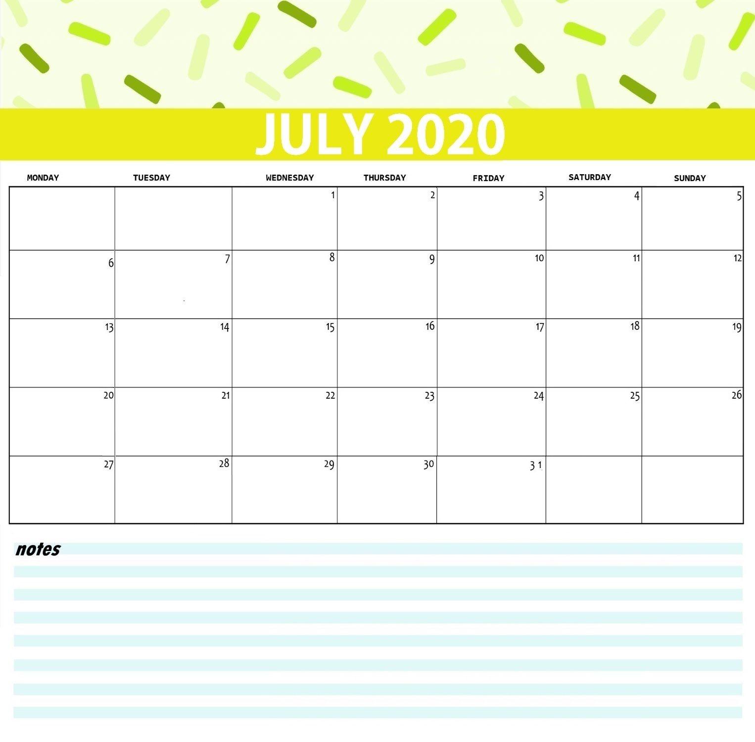 Printable July 2020 Calendar | Max Calendars