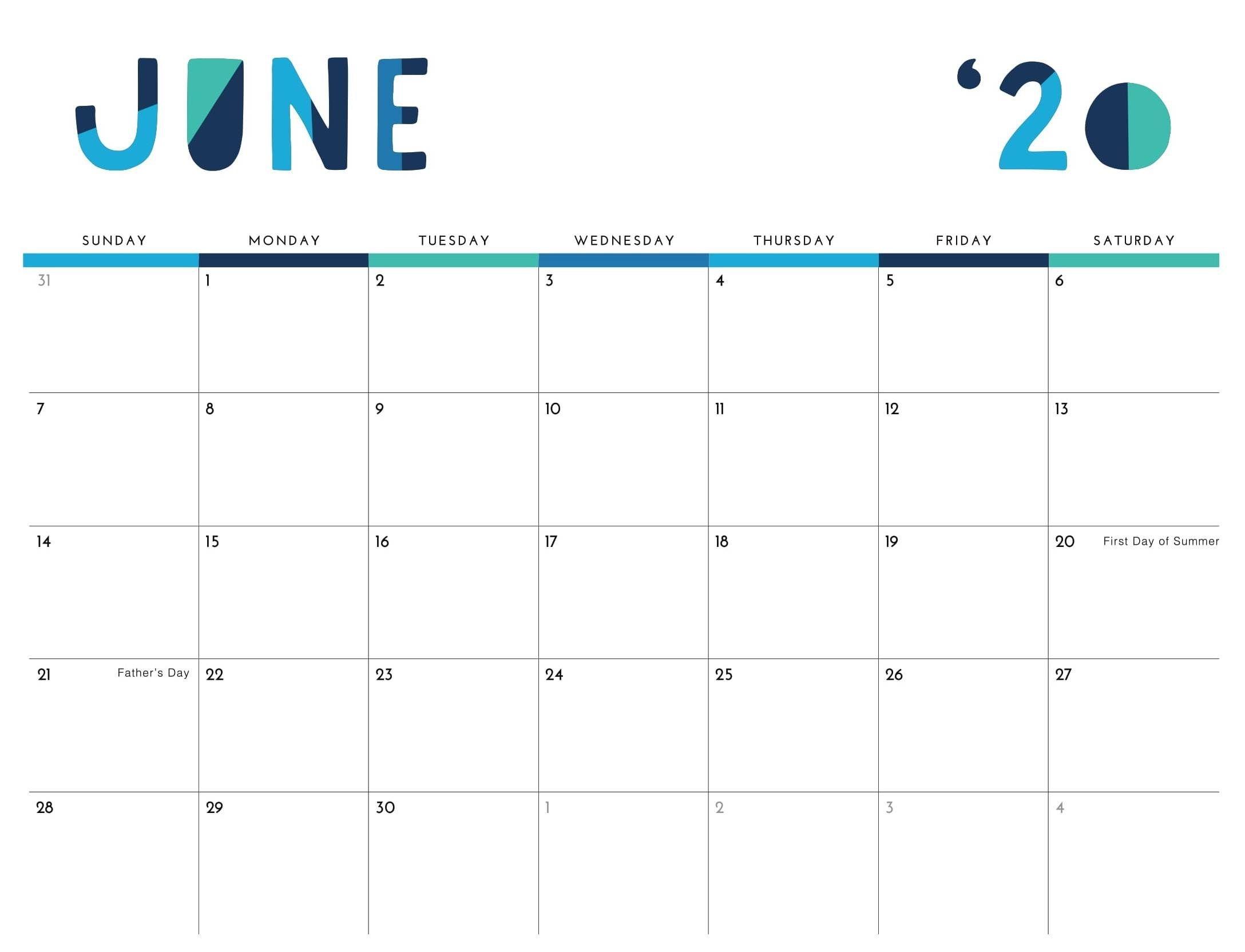 Printable June 2020 Calendar Excel Pdf Template - Web Galaxy