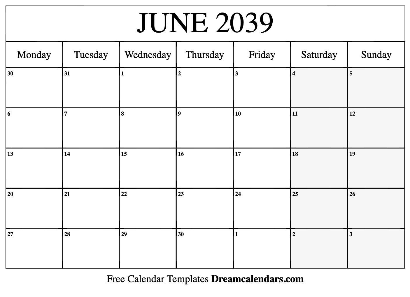Printable June 2039 Calendar