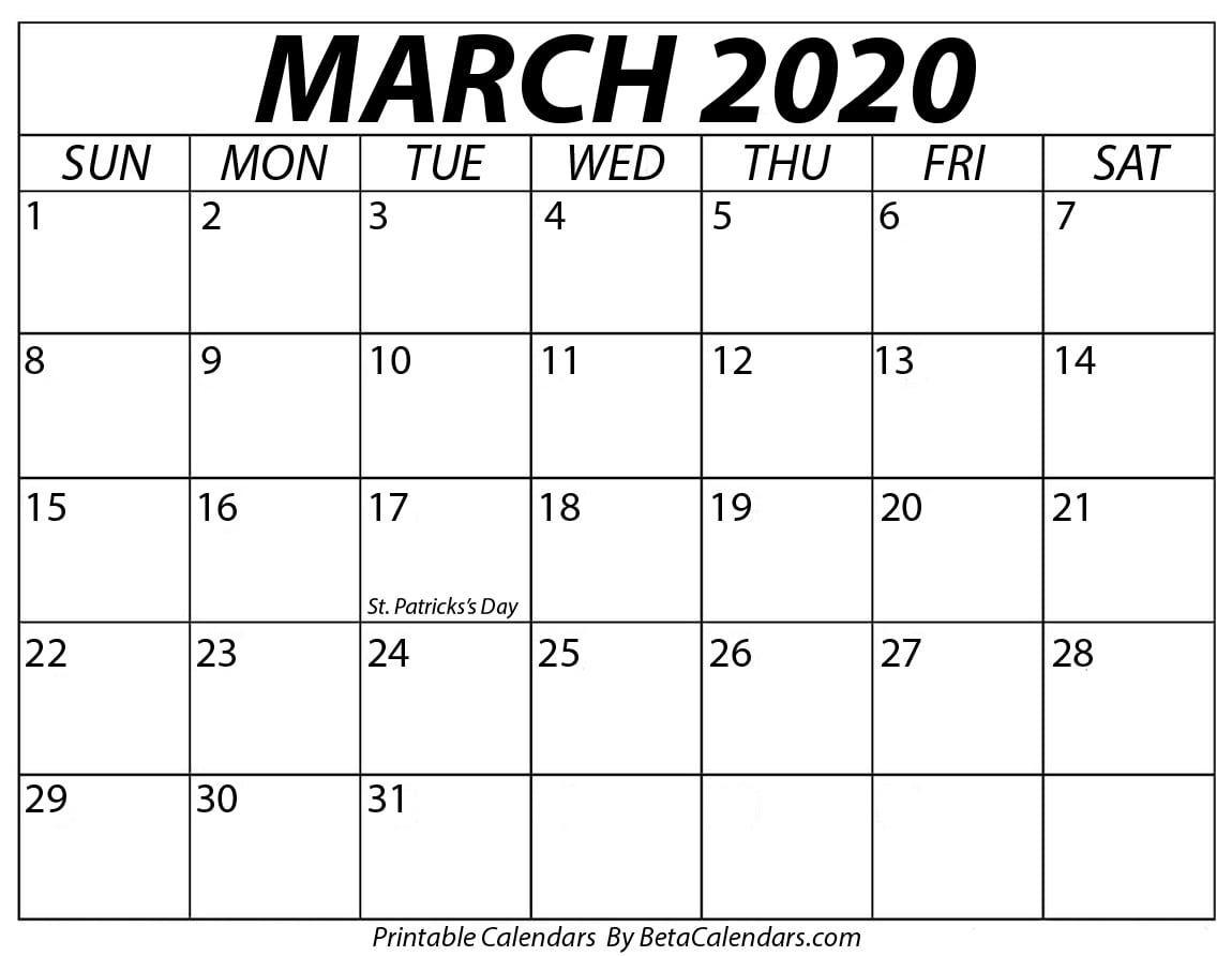 Printable March 2020 Calendar - Beta Calendars