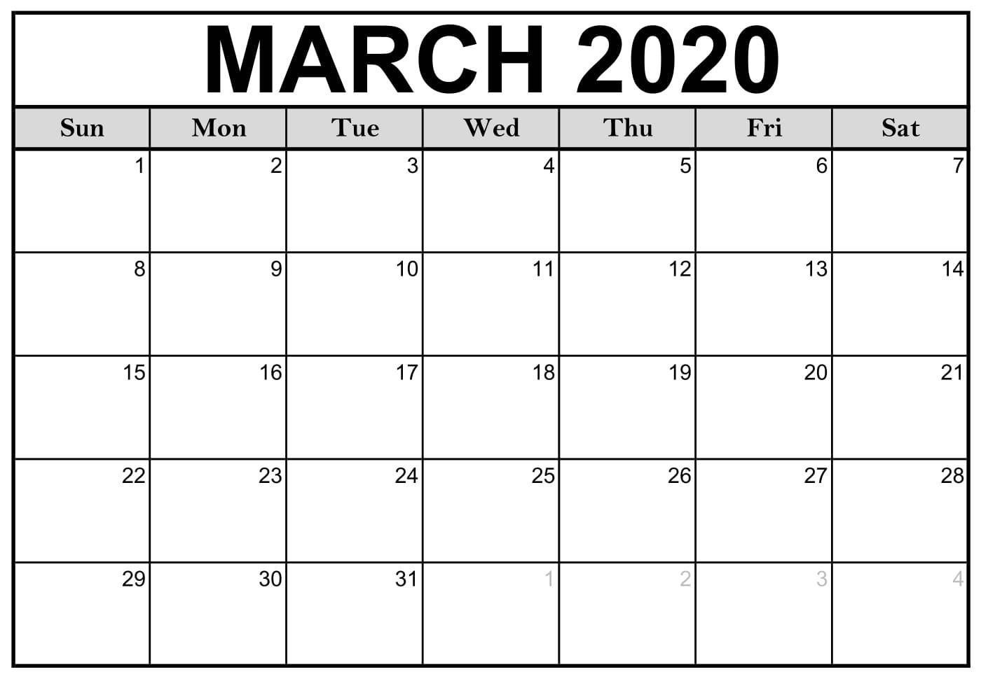 Printable March 2020 Calendar Pdf Free Template In 2020