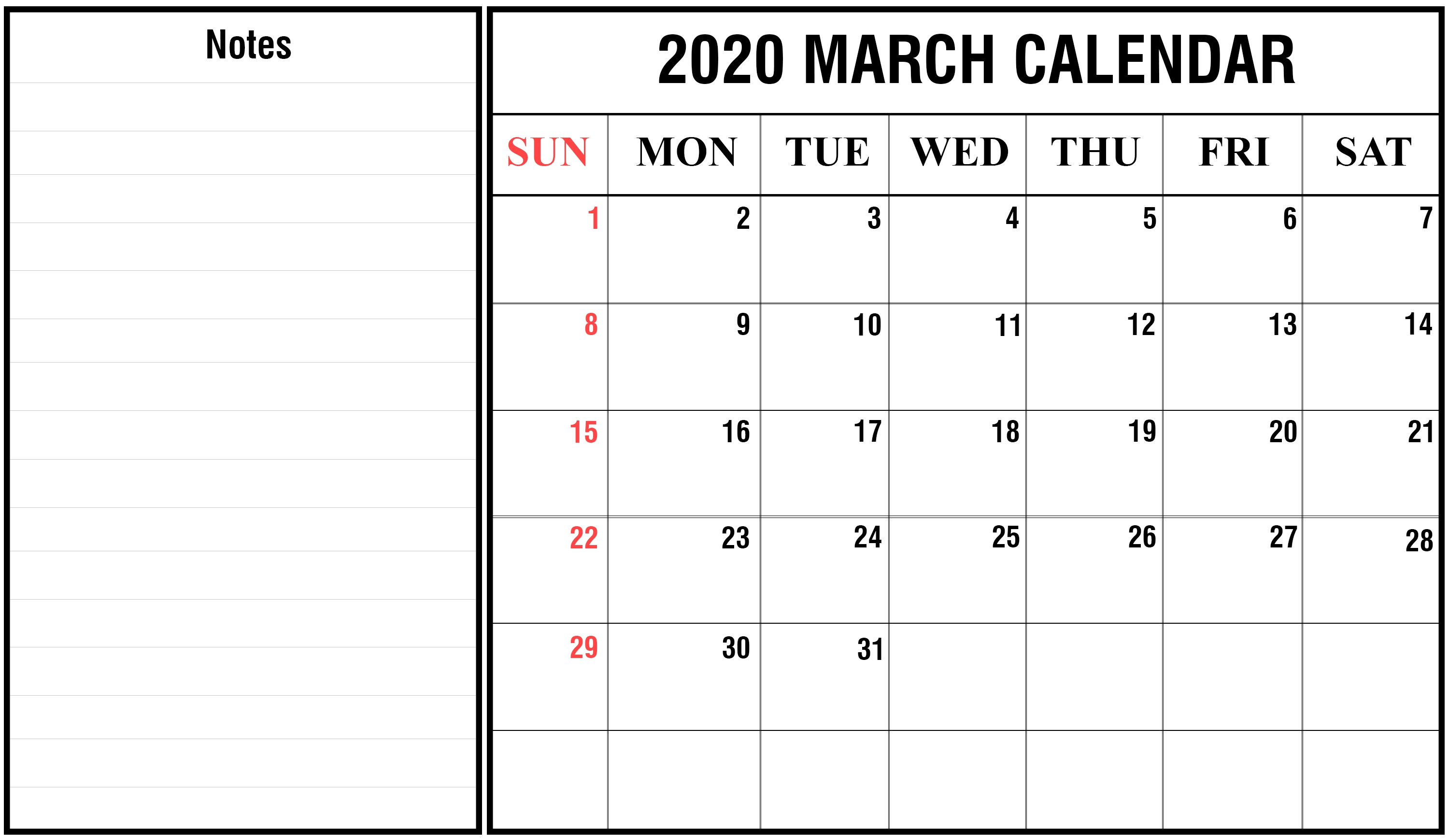 Printable March 2020 Calendar Pdf, Word, Excel Templates