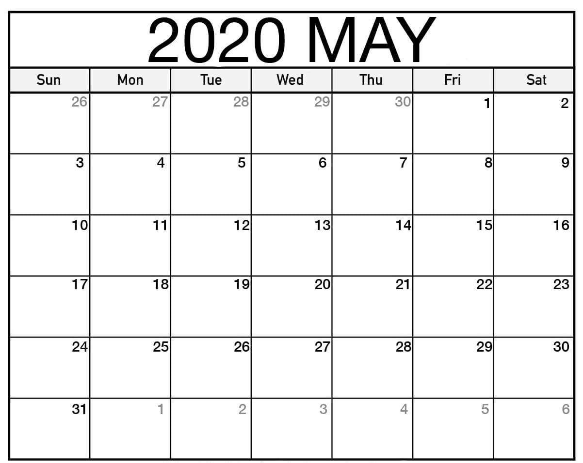 Printable May 2020 Calendar Pdf Word Excel Template