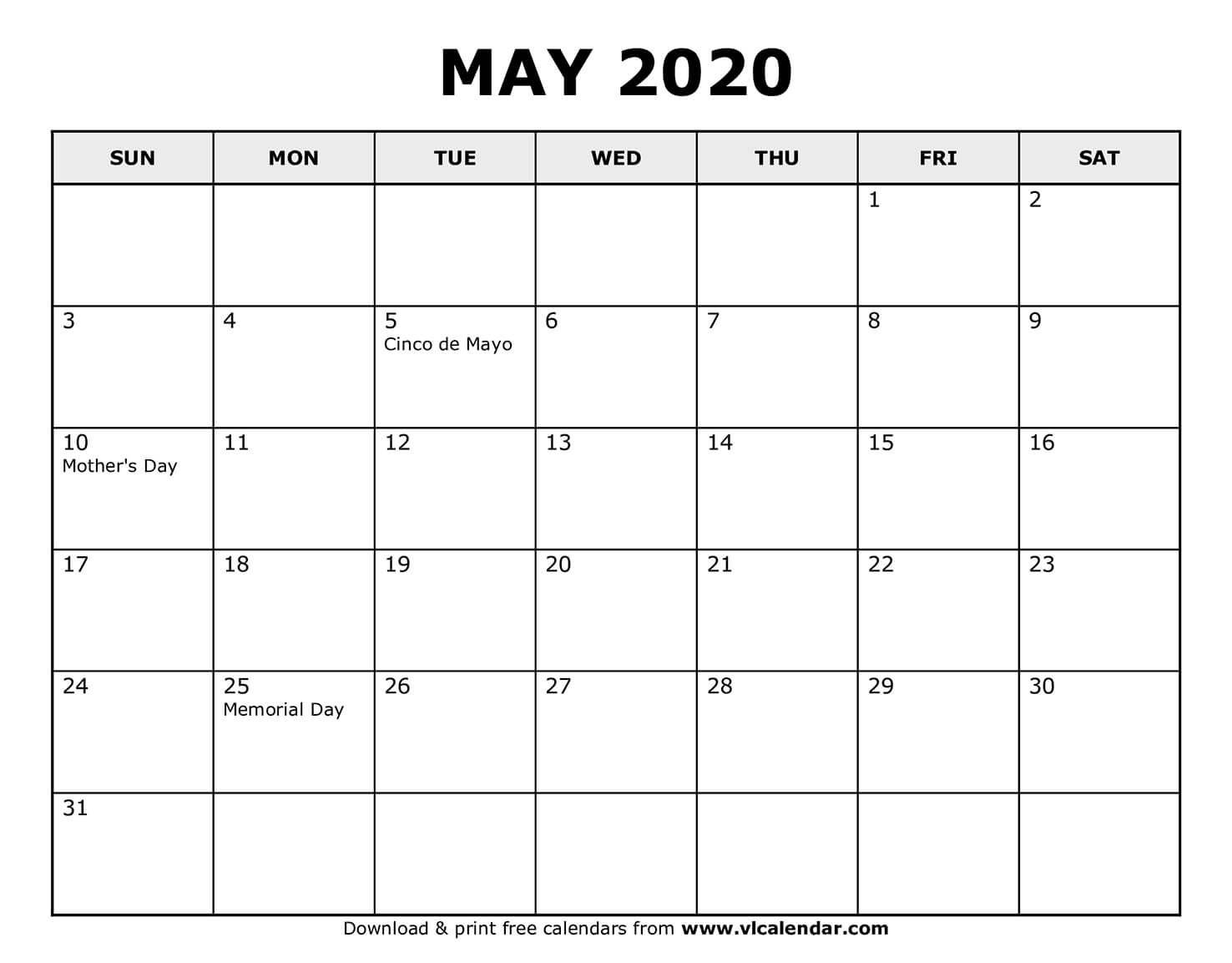 Printable May 2020 Calendars | Syndication Cloud