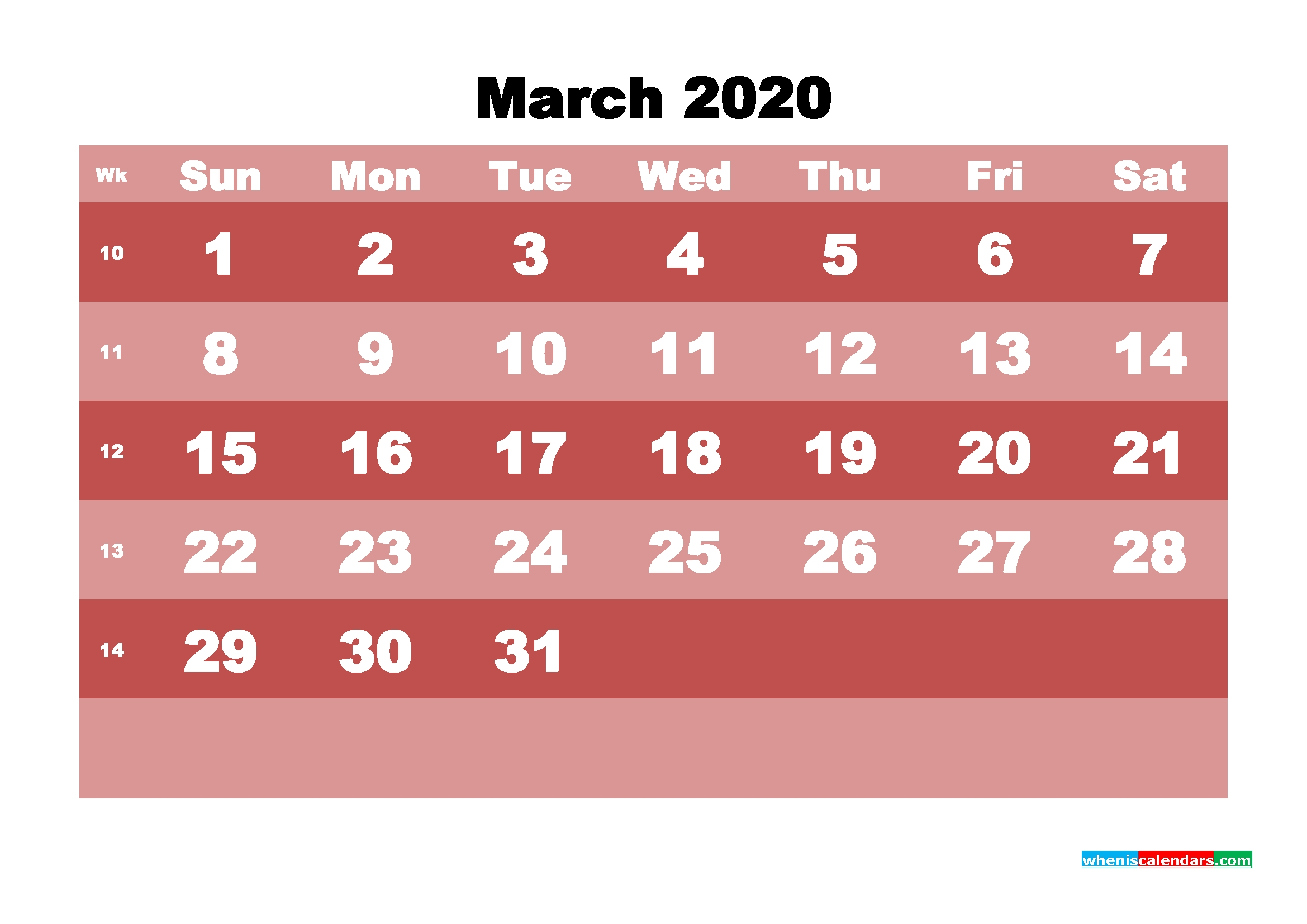 Printable Monthly Calendar 2020 March With Week Numbers