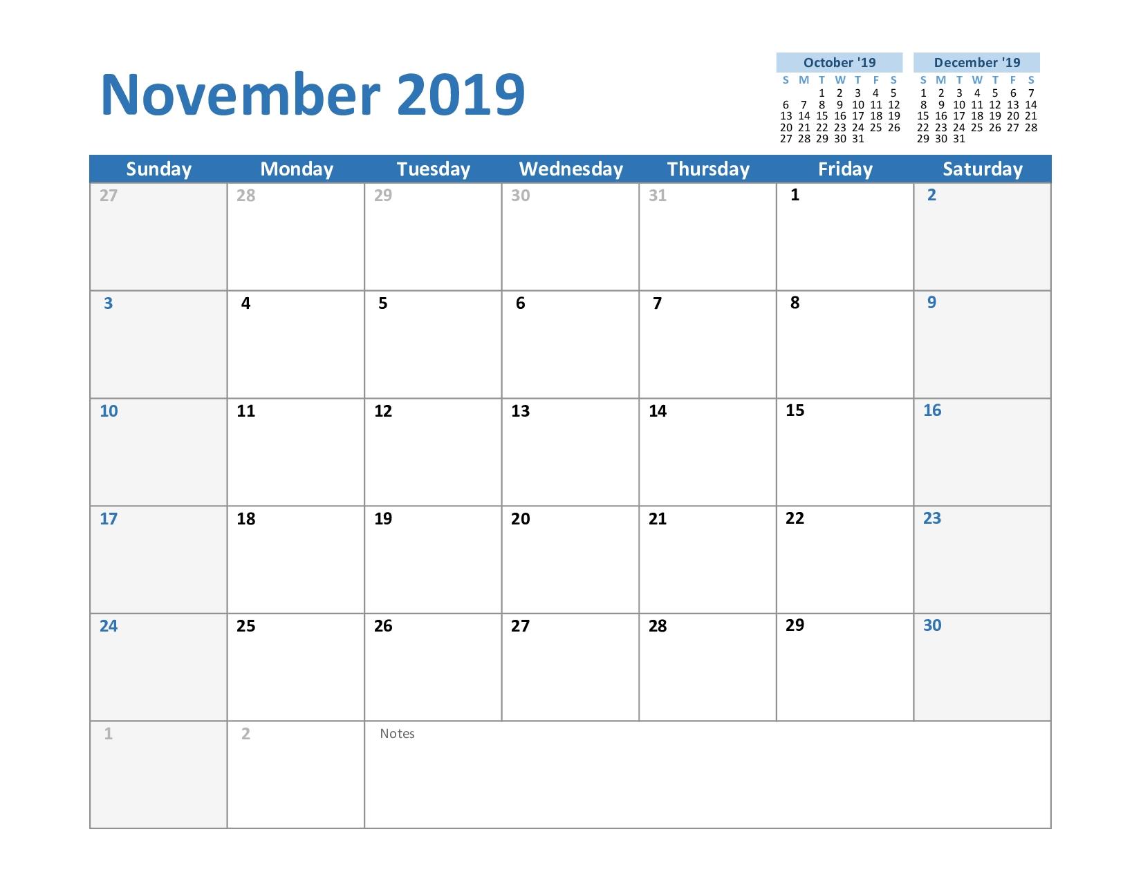 Printable November 2019 Calendar - Editable Templates - 2020
