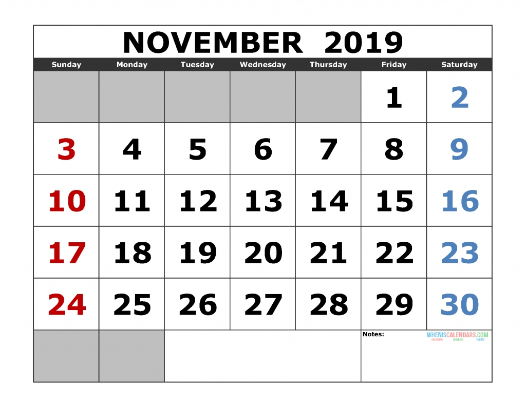 Printable November 2019 Calendar Template, Landscape Format