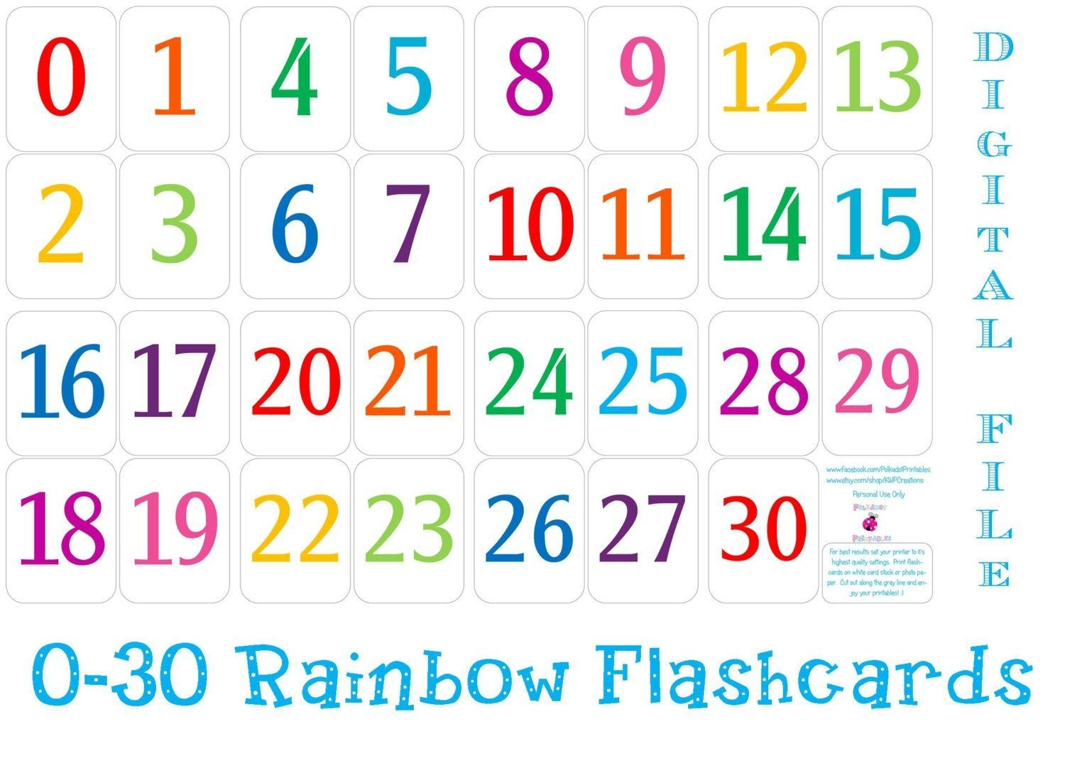 Printable Number Cards 1 30 (With Images) | Printable