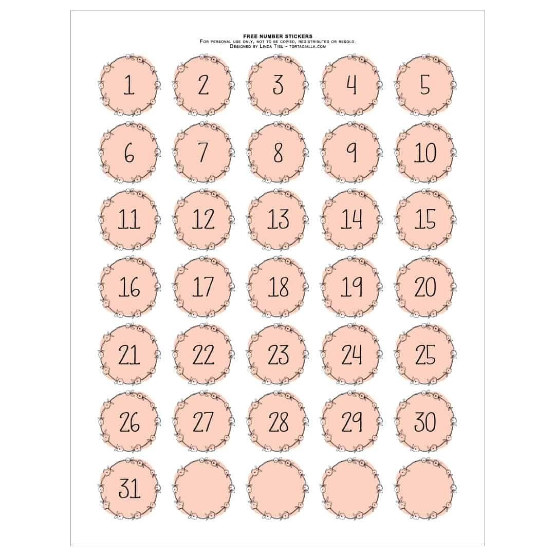 Printable Numbers - Pretty Pink Wreath Style   Tortagialla