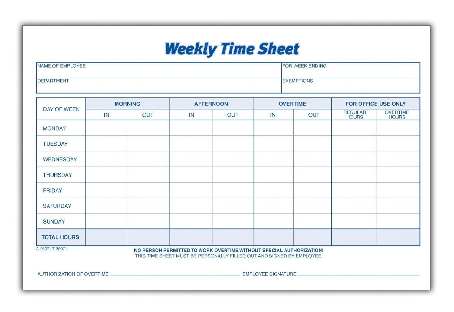Printable Pdf Timesheets For Employees | Time Sheet