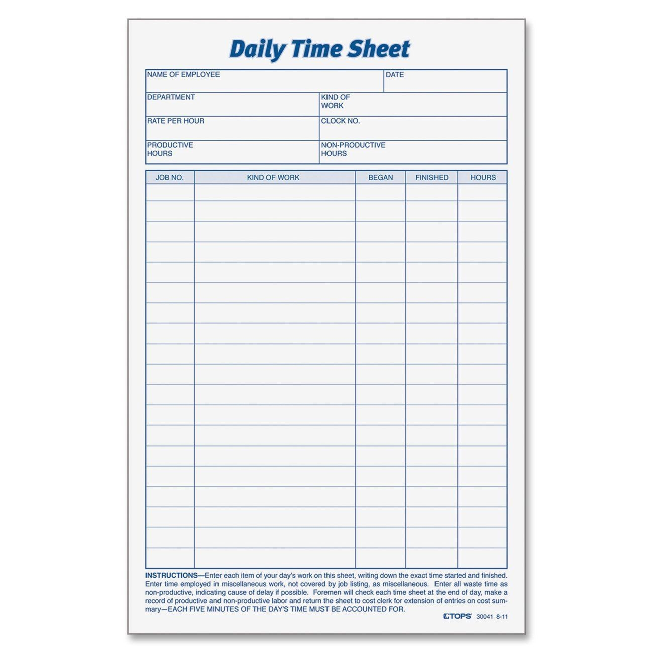 Printable Pdf Timesheets For Employees (With Images