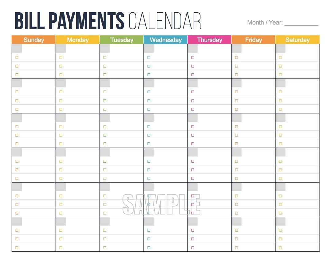 Printable Personal Bill Pay Calendar Template : Vientazona