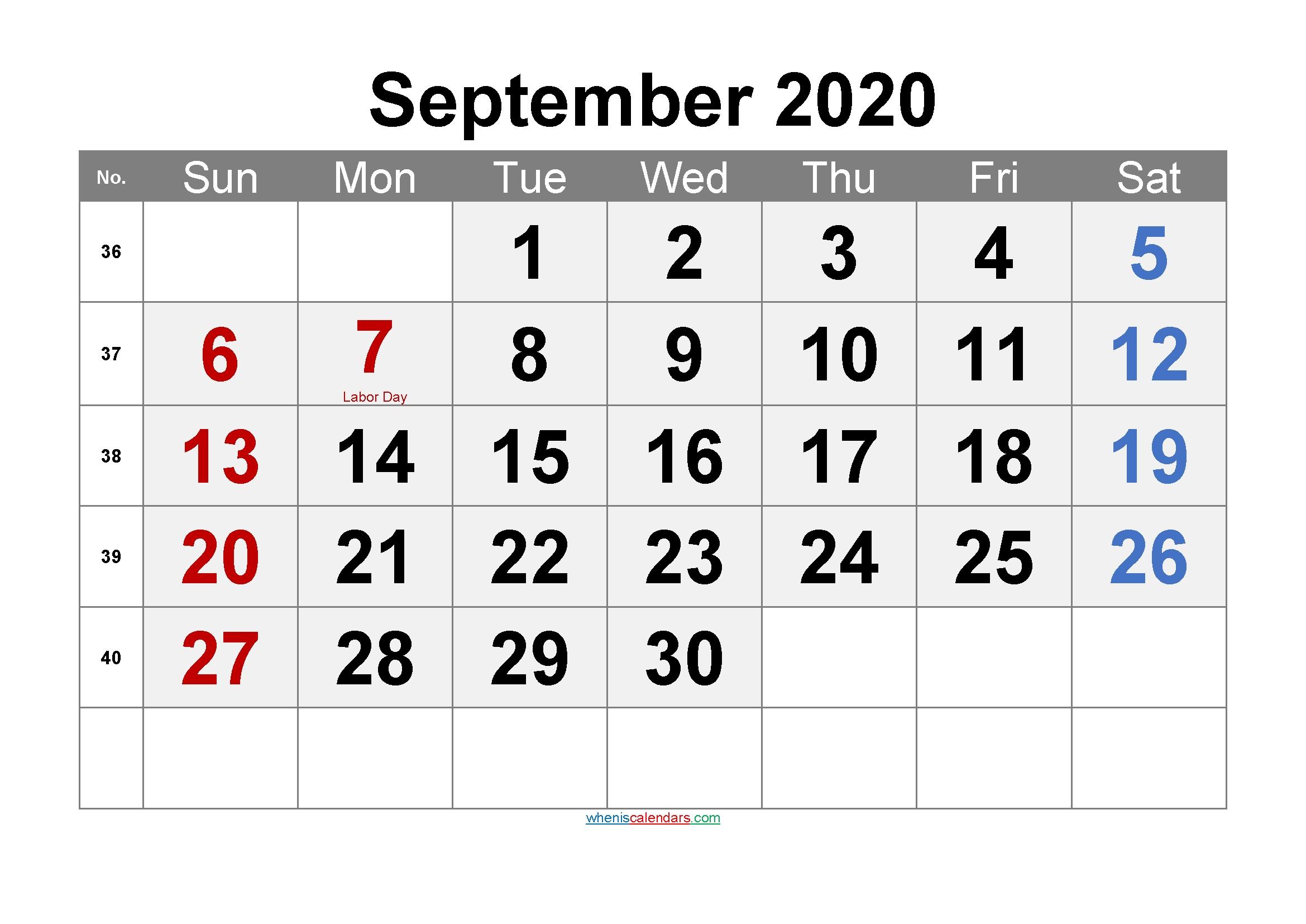 Printable September 2020 Calendar Pdf-Template No.ar20M69