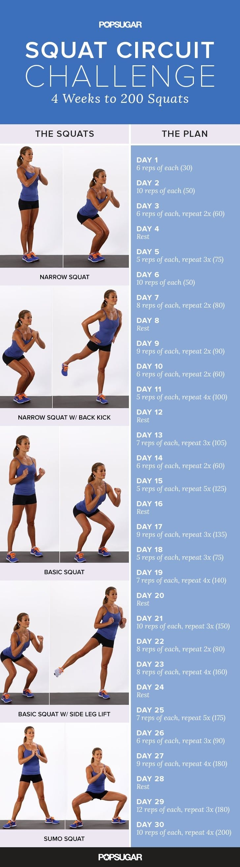 Printable Squat Challenge | Popsugar Fitness