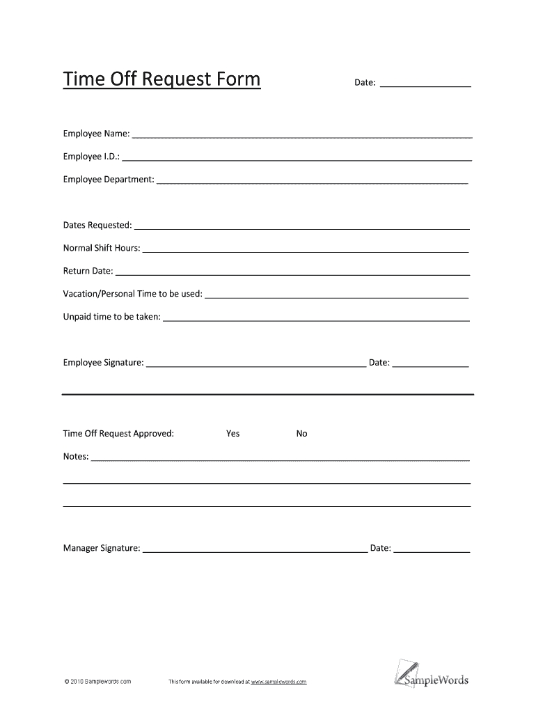 Printable Vacation Request Form 2018 - Fill Online