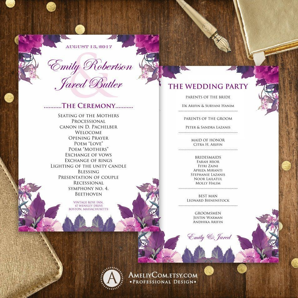 Printable Wedding Programs Purple Lilac White - Editable