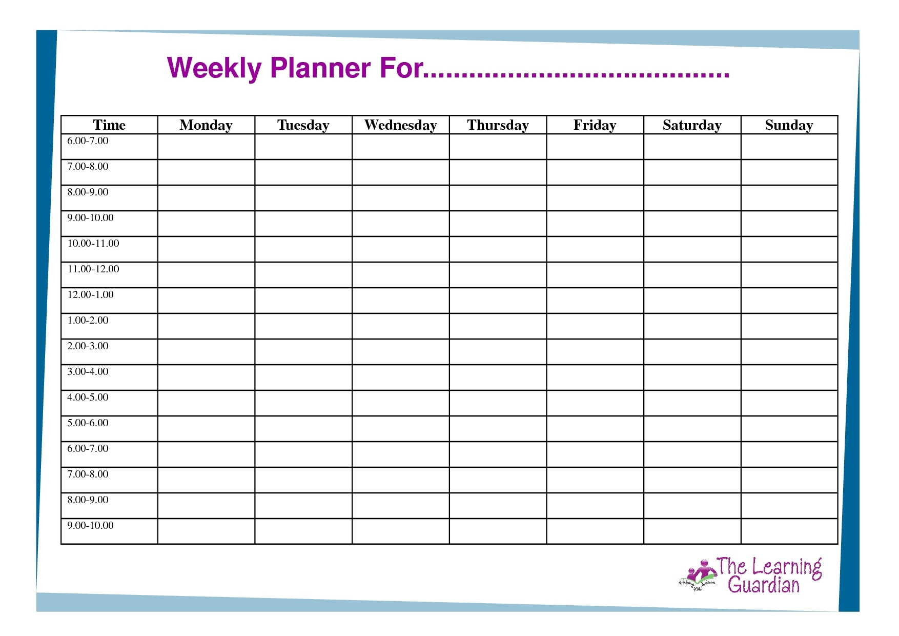 Printable Weekly Planner With Time Slots - Calendar