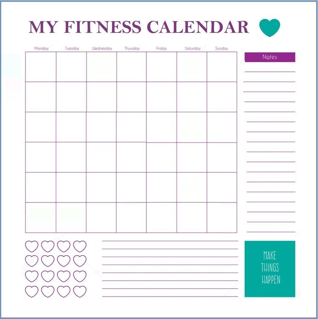Printable Workout Fitness Templates   Workout Calendar