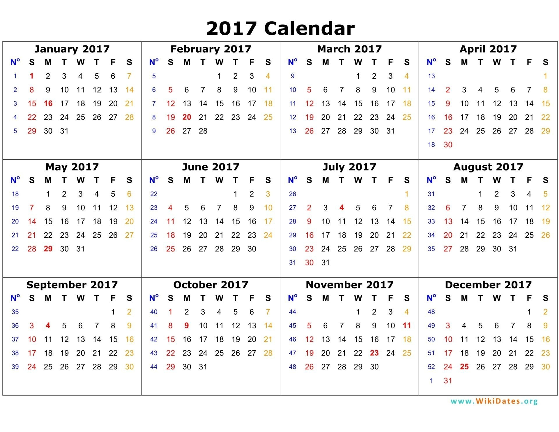 Printable Yearly 2017 Calendar With Twelwe Month Calendar
