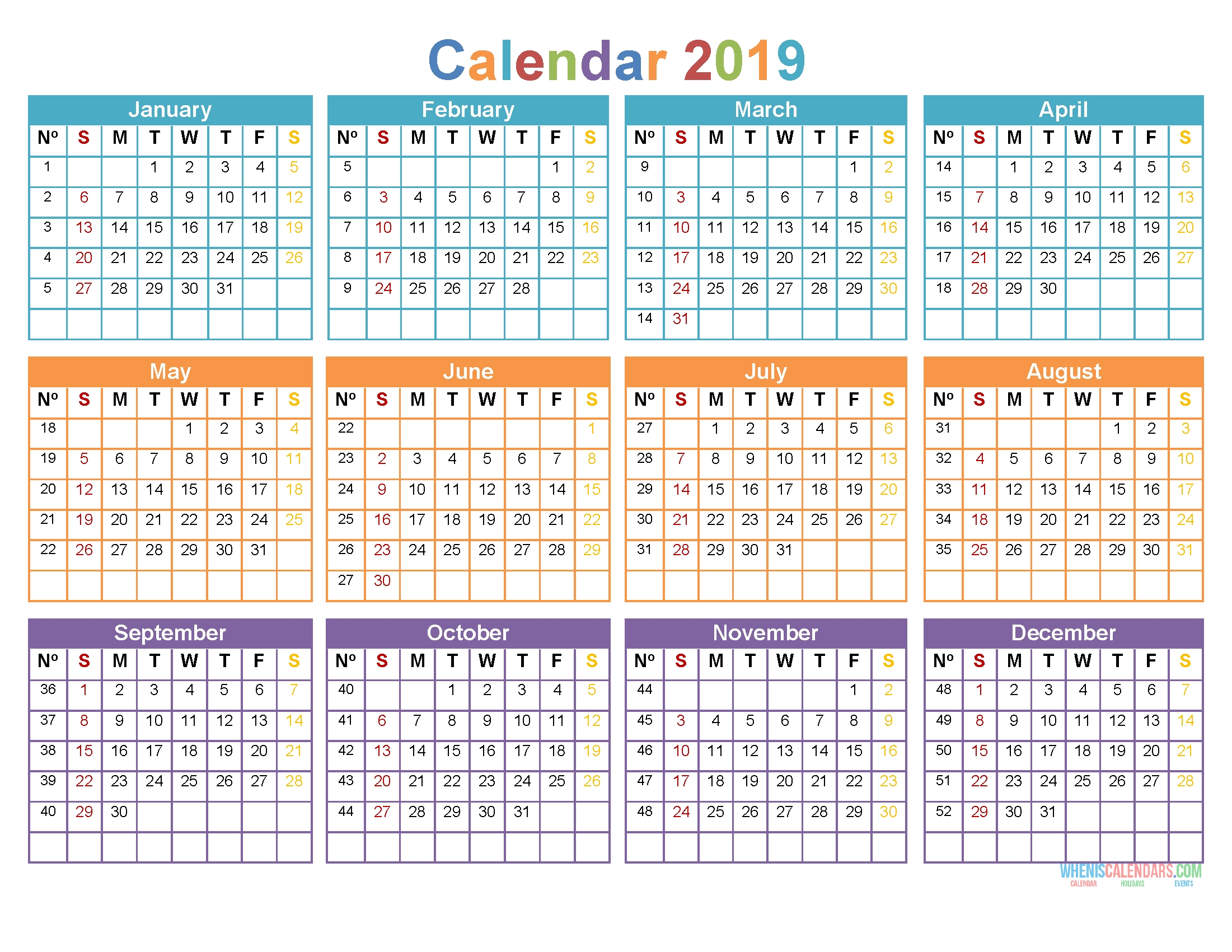 Printable Yearly Calendar 2019 12 Month On 1 Page, Sunday