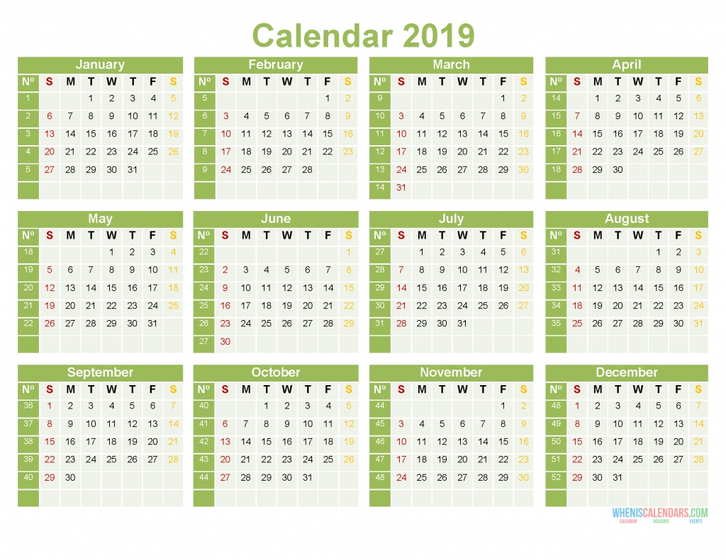 Printable Yearly Calendar 2019 12 Month On 1 Page Word, Pdf