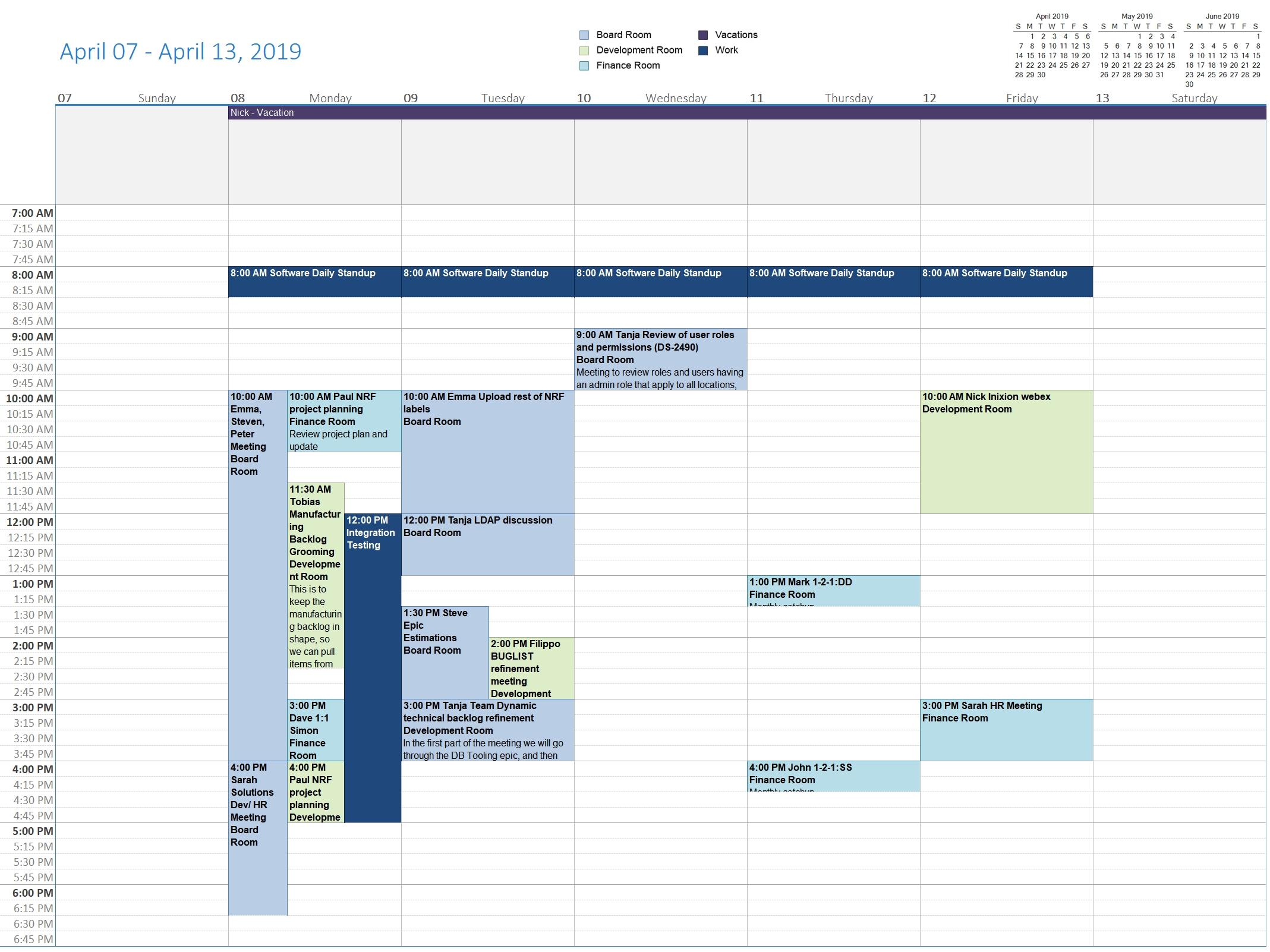 Printablecal | Week Column Template