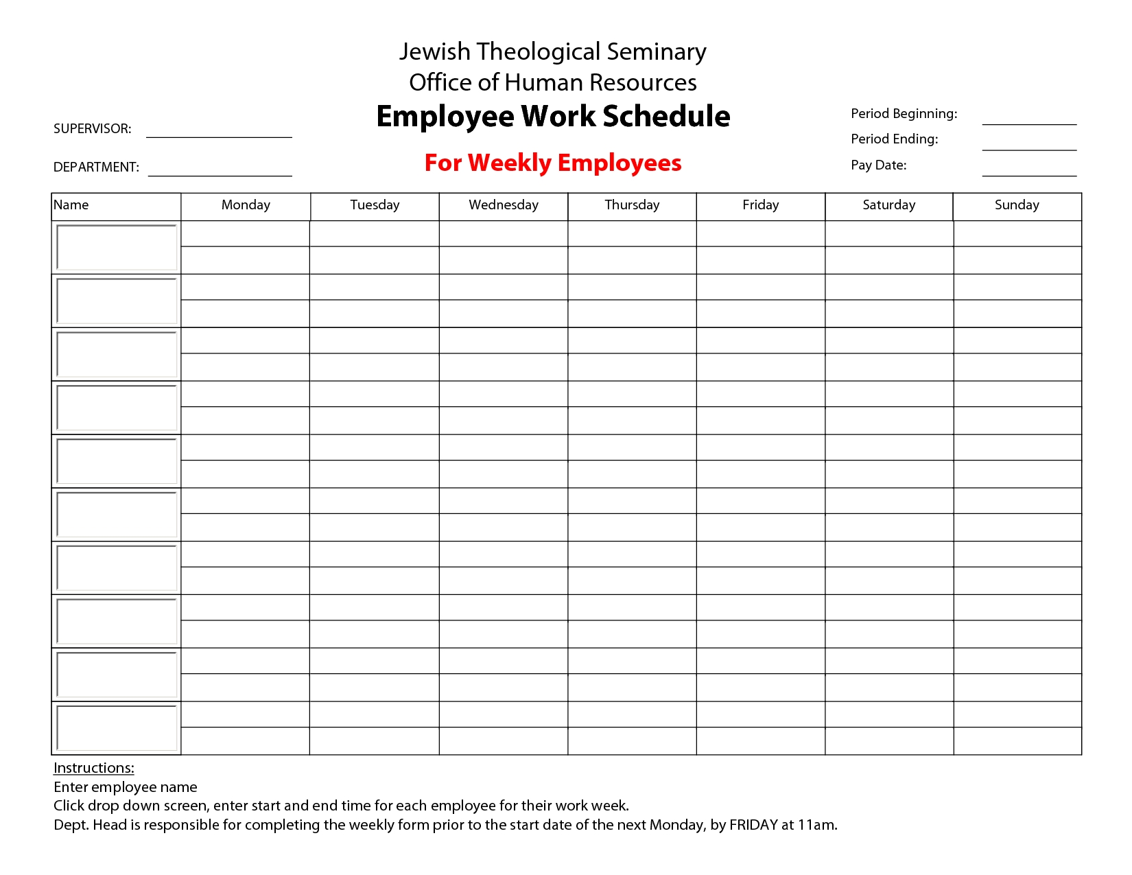 Printable+Employee+Work+Schedule+Template | Monthly Schedule