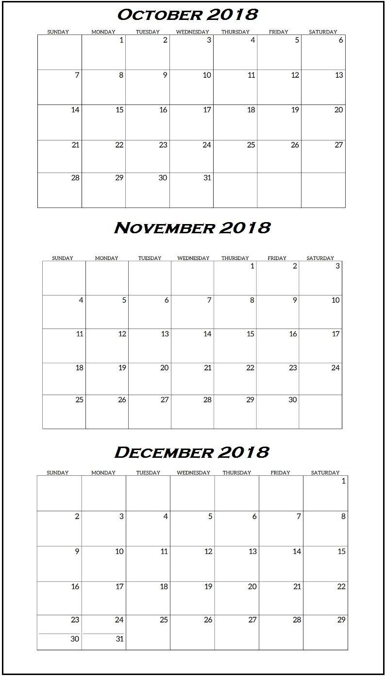 Quarterly Printable Calendar 2018   Latest Calendar