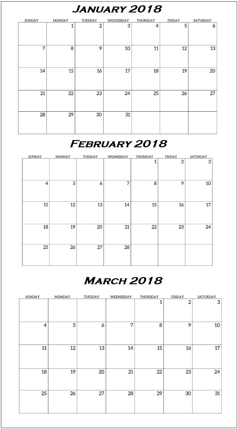 Quarterly Printable Calendar 2018 | Latest Calendar
