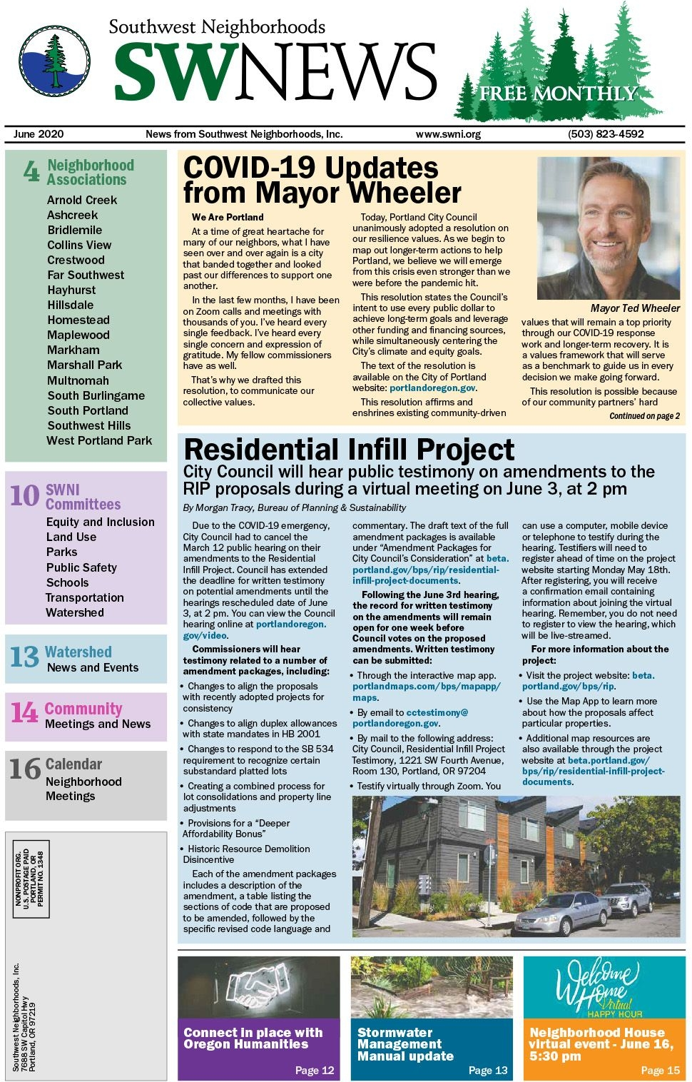 Residential Infill Project Covid-19 Updates From Mayor Wheeler
