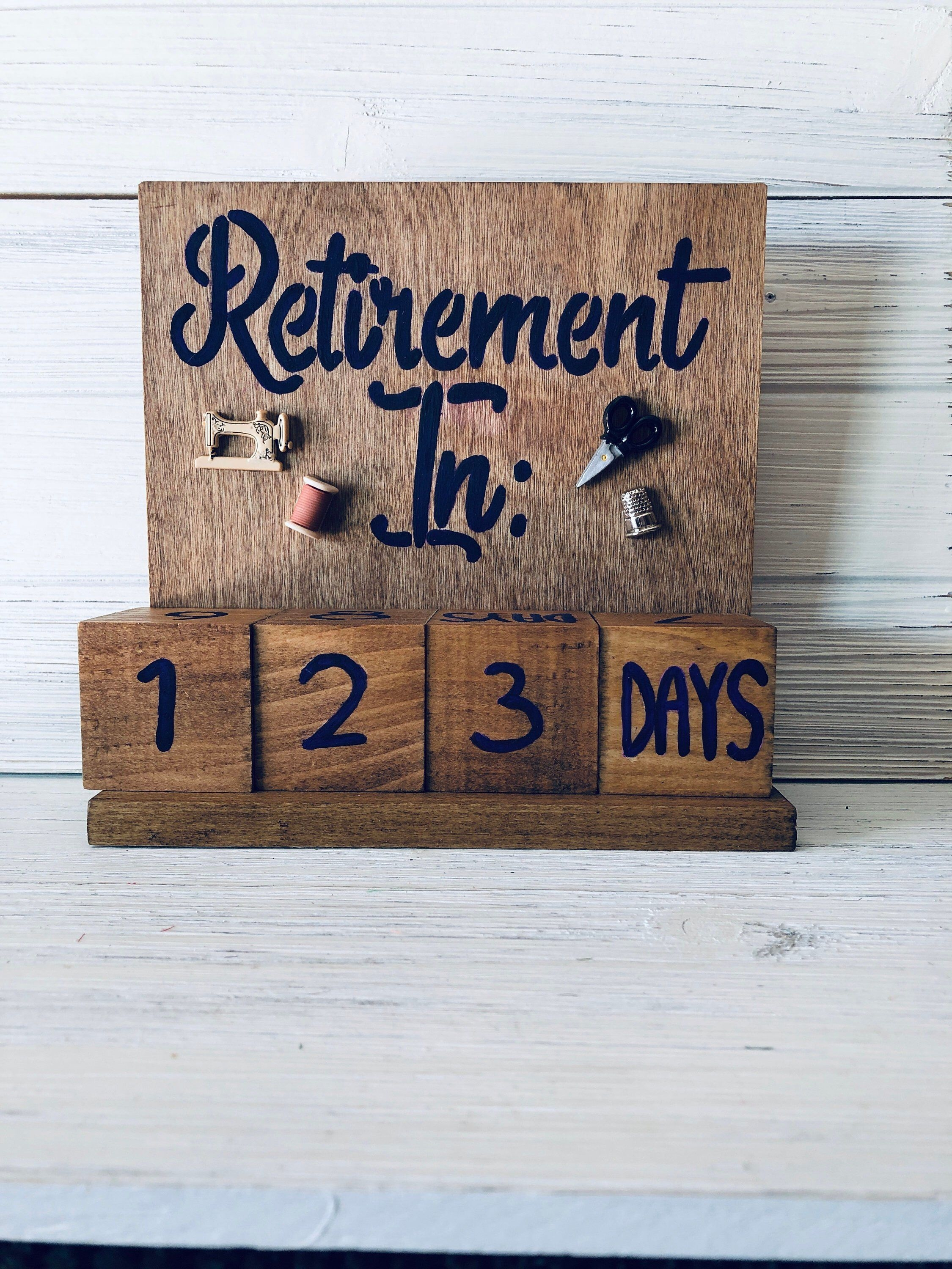 Retirement Countdown Calendar With Blocks - Sewing Theme