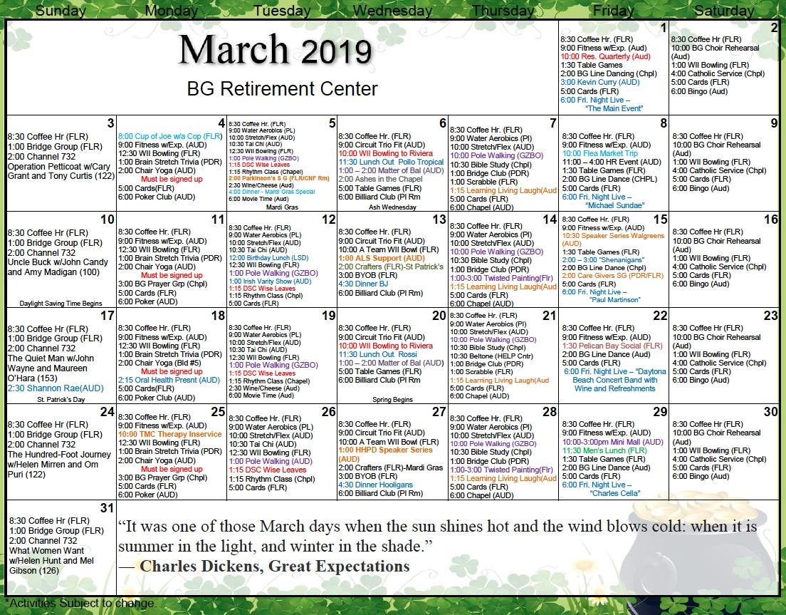 Retirement March Calendar - Bishop's Glen Retirement Center
