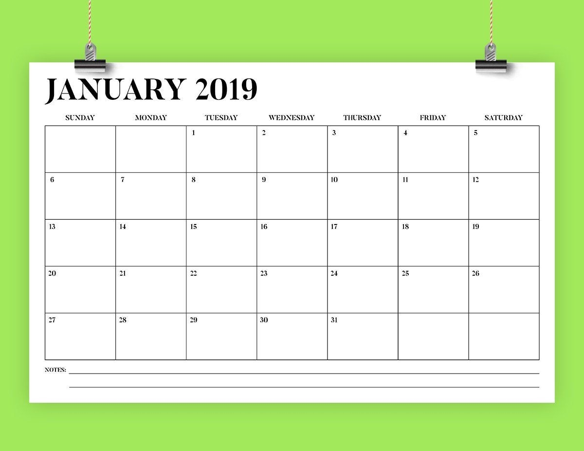Sale 11 X 17 Inch 2019 Calendar Template | Instant Download | Bold Stencil  Serif Type Monthly Printable Desk Wall Calender | Print Ready