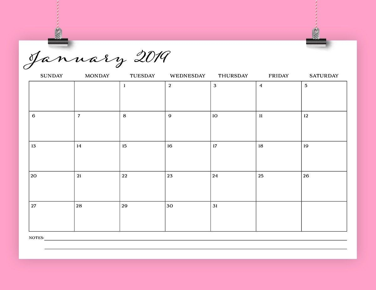 Sale 11 X 17 Inch 2019 Calendar Template | Instant Download | Romantic  Script Type Monthly Printable Desk Or Wall Calender | Print Ready