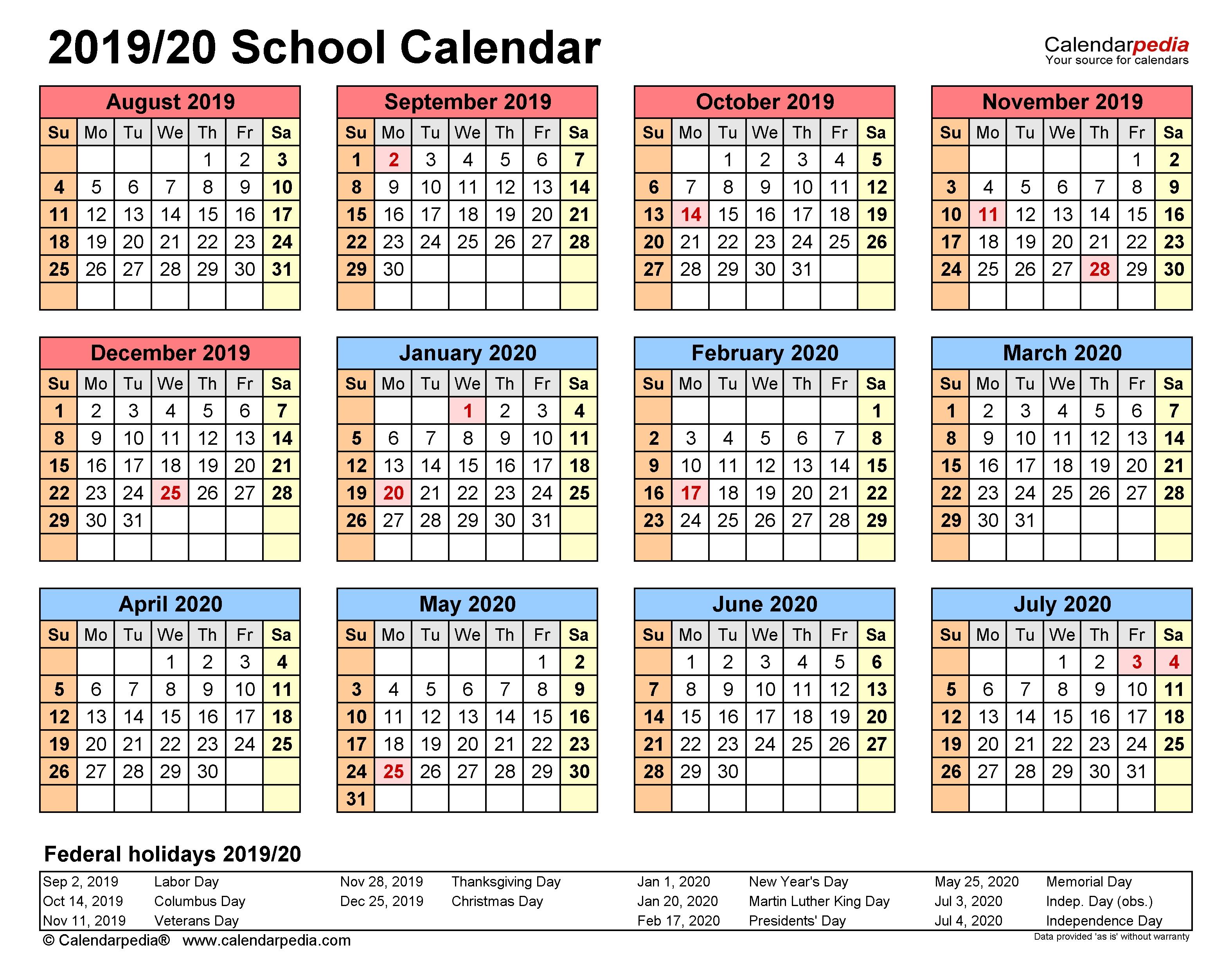 School Calendars 2019/2020 - Free Printable Word Templates