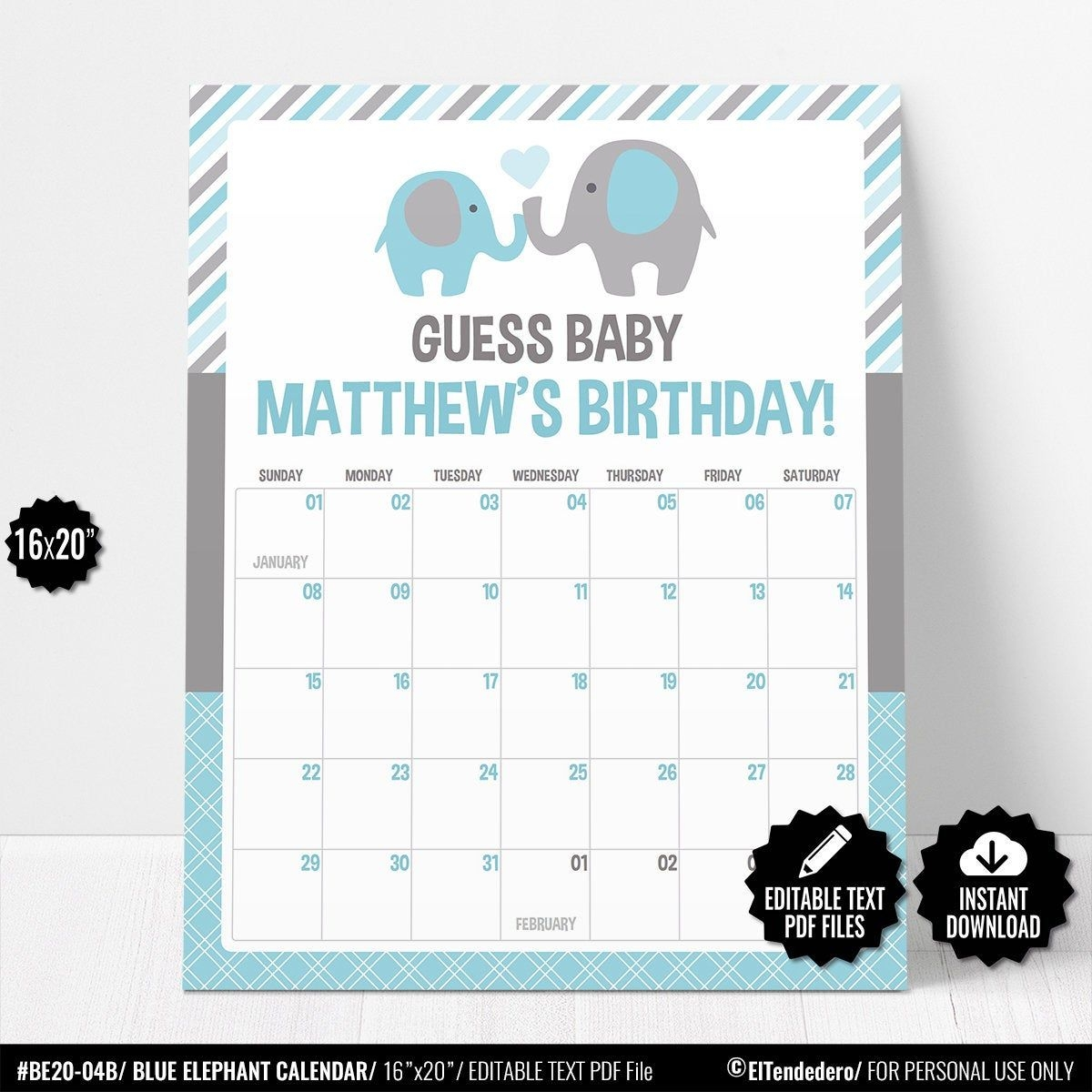 Self Editable Due Date Calendar. Guess Baby Birthday Prediction Game. Blue  Elephant Baby Shower Calendar. Printable Boy Shower Activities
