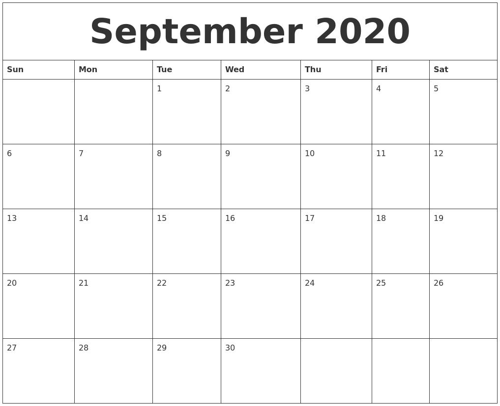 September 2020 Calendar Monthly