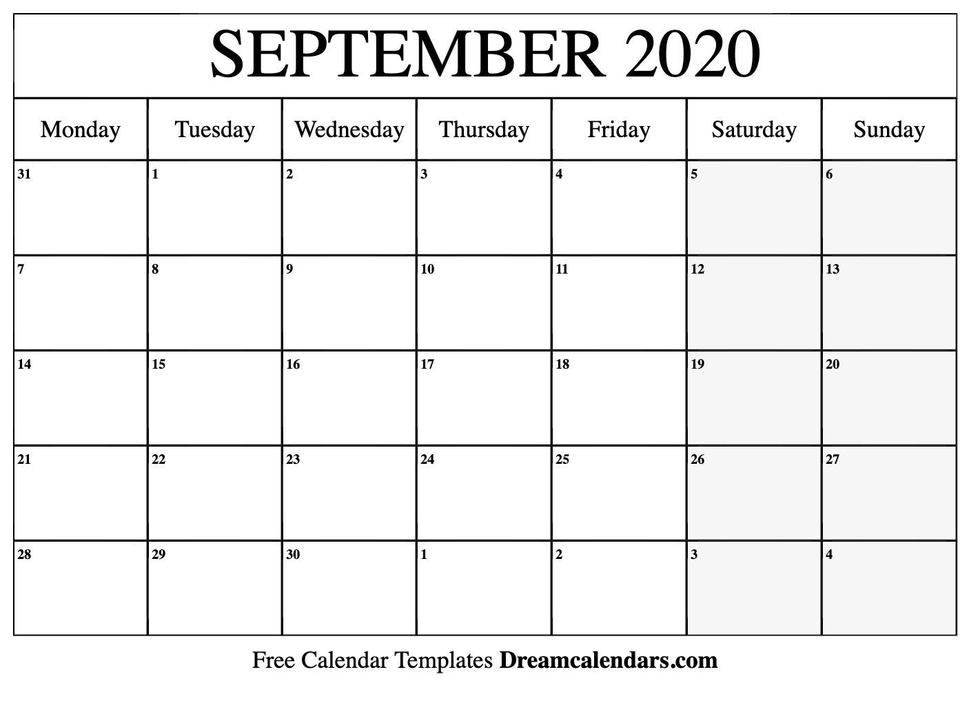 September 2020 Calendar Printable (Monday | Calendar