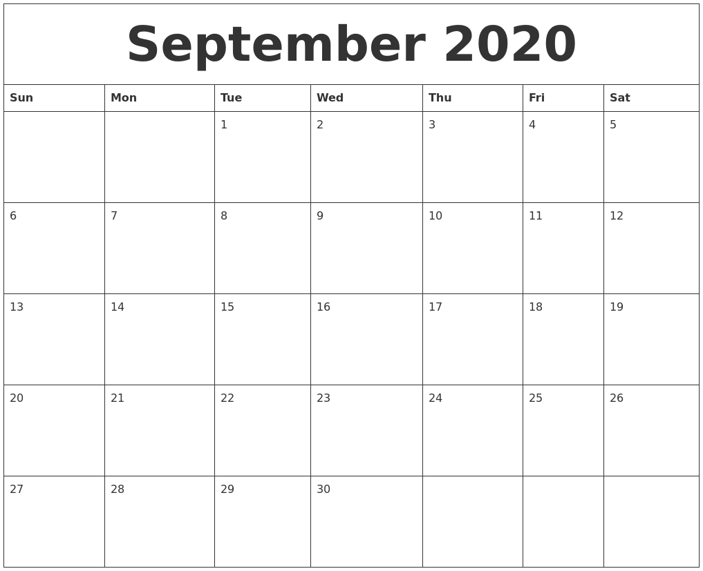 September 2020 Monthly Printable Calendar